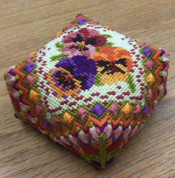 Moroccan Pansies Pincushion from Sue Hawkins
