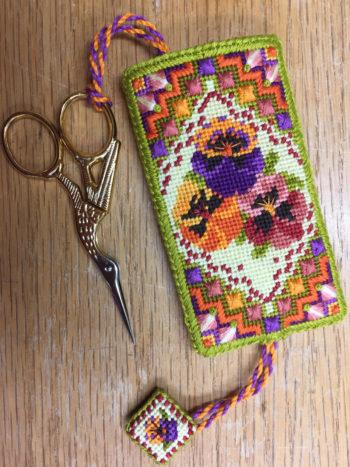 Moroccan Pansies Scissor Pocket from Sue Hawkins